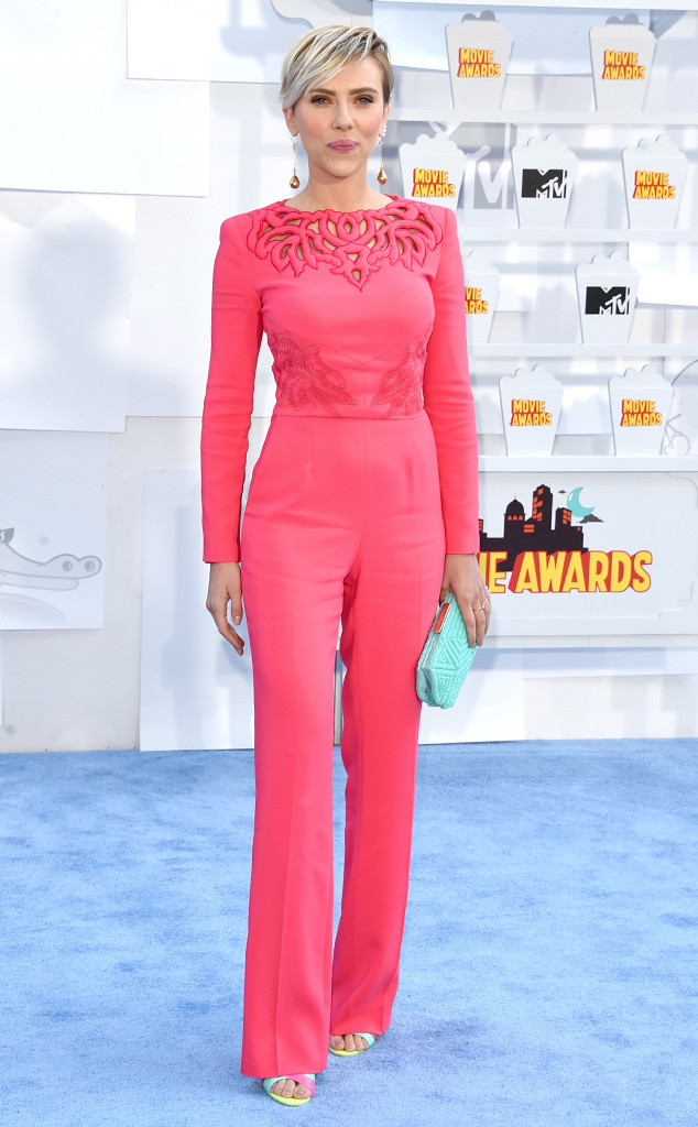 Scarlett Johansson in Zuhair Murad jumpsuit with Sophia Webster heels and Roger Vivier clutch.